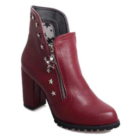 Stylish Solid Colour and Metallic Design Ankle Boots For Women - WINE RED 38