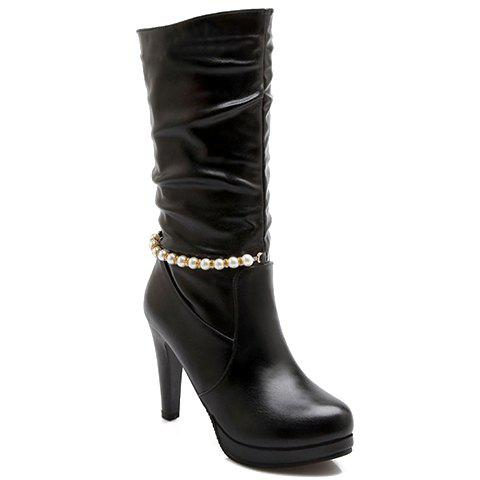 Stylish Ruched and Beading Design High Heel Boots For Women - BLACK 37