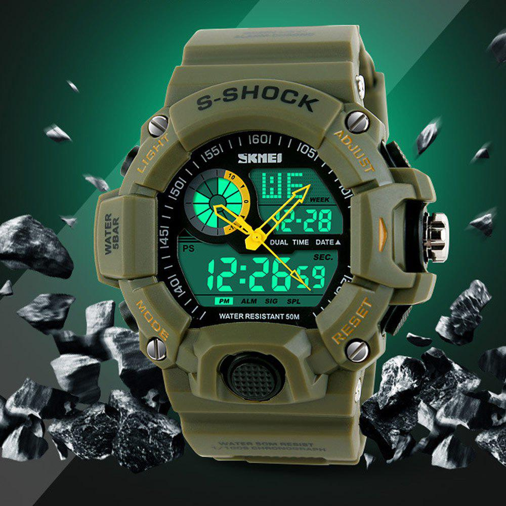 Skmei 1029 5ATM Water Resistant LED Dual Movement Sports Watch with Week Date Stopwatch - ARMY GREEN