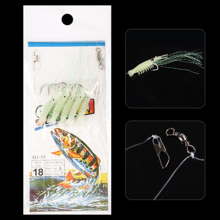 5 in 1 108cm Ultra-realistic Sabiki Rigs Fishing Lure Fishhook - GREEN NO.18