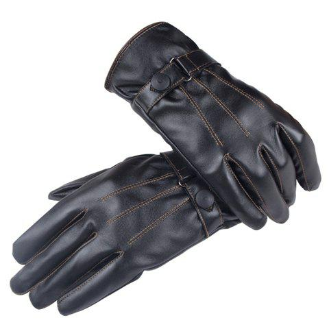 Pair of Stylish Button Sewing Thread Touch Screen PU Gloves For Men and Women