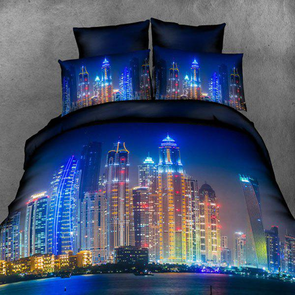 High Definition Brilliantly Illuminated Pattern 3D Full Size Flat Sheet ( Without Comforter ) - BLUE FULL