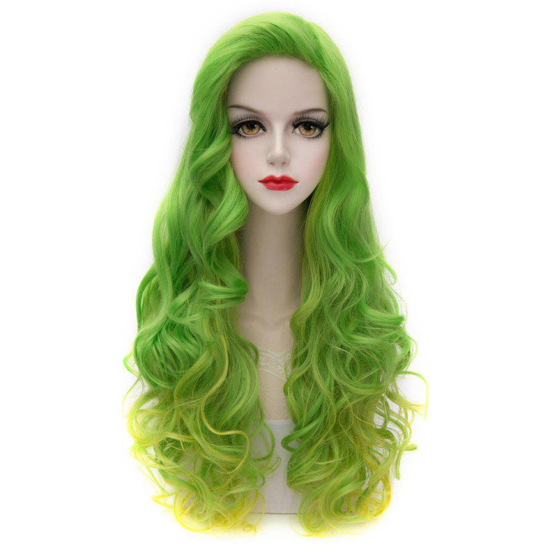 Charming Towheaded Wavy No Bang Long Green Ombre Yellow Synthetic Capless Wig For Women - COLORMIX