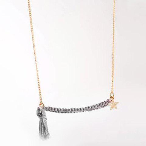 Cute Knitted Tassel Necklace For Women - OFF WHITE