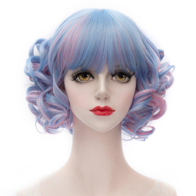 Blue Mixed Pink Trendy Heat Resistant Fiber Full Bang Fluffy Curly Capless Short Women's Wig - COLORMIX