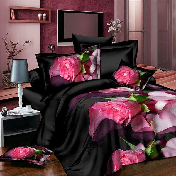High Definition Rose Petal Pattern 3D Full Size Flat Sheet ( Without Comforter ) - BLACK / RED FULL