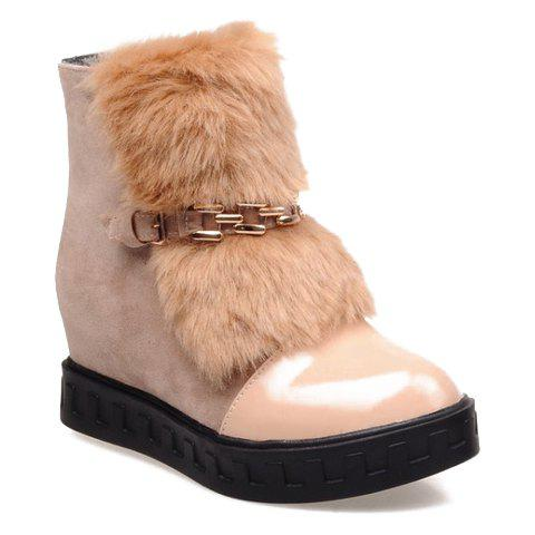 Trendy Patent Leather and Chain Design Short Boots For Women - APRICOT 36