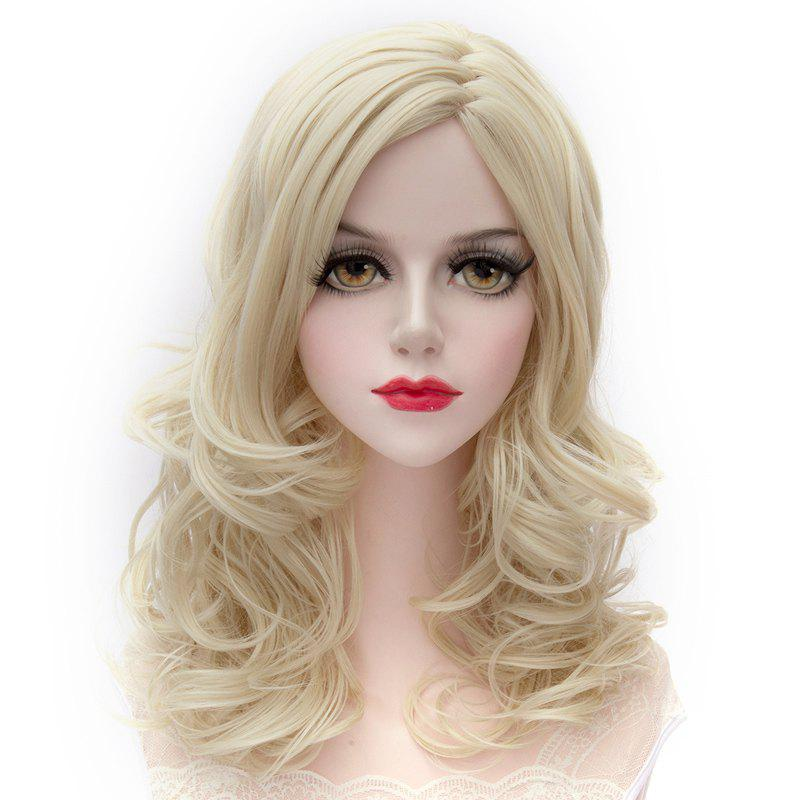 Attractive Shaggy Wavy Long Capless Centre Parting Light Blonde Synthetic Women's Wig - LIGHT BLONDE