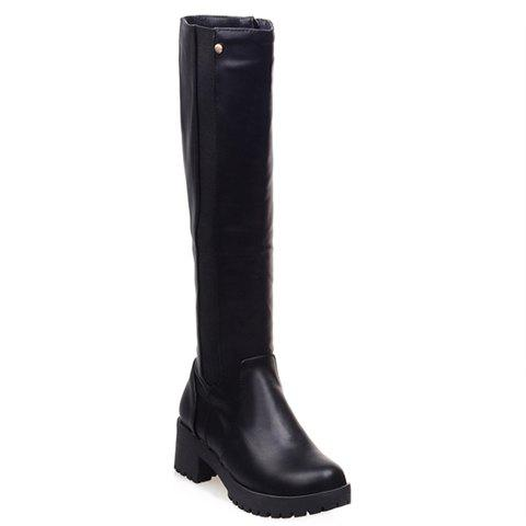 Concise Solid Color and Elastic Design Knee-High Boots For Women - 37 BLACK