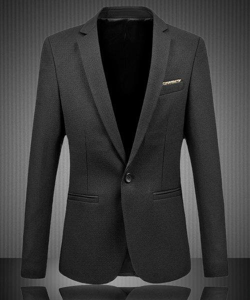 One Button Single-Breasted Exquisite Breast Pocket Lapel Long Sleeves Men's Slim Fit Plus Size Blazer - BLACK 6XL