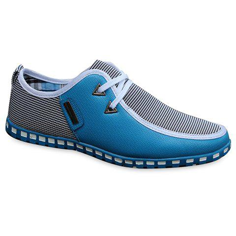 Stylish Color Block and Triangle Design Casual Shoes For Men - LIGHT BLUE 42