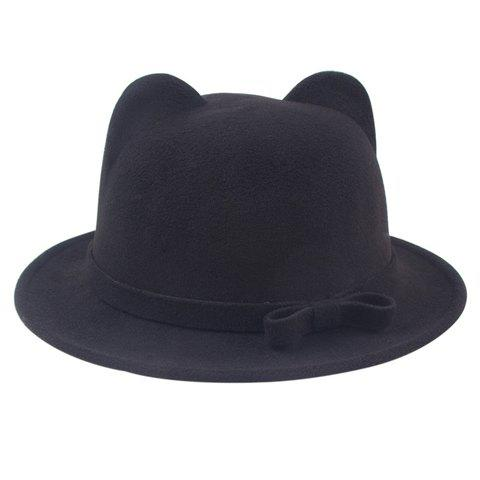 Chic Small Bow Lace-Up and Cat Ear Shape Embellished Women's Felt Jazz Hat - BLACK