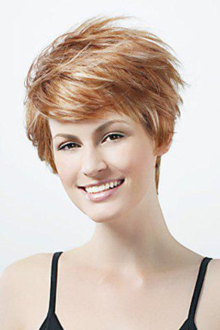 Sugar Honey Spiffy Towheaded Short Natural Wavy Capless Side Bang Synthetic Wig For Women - SUGAR HONEY