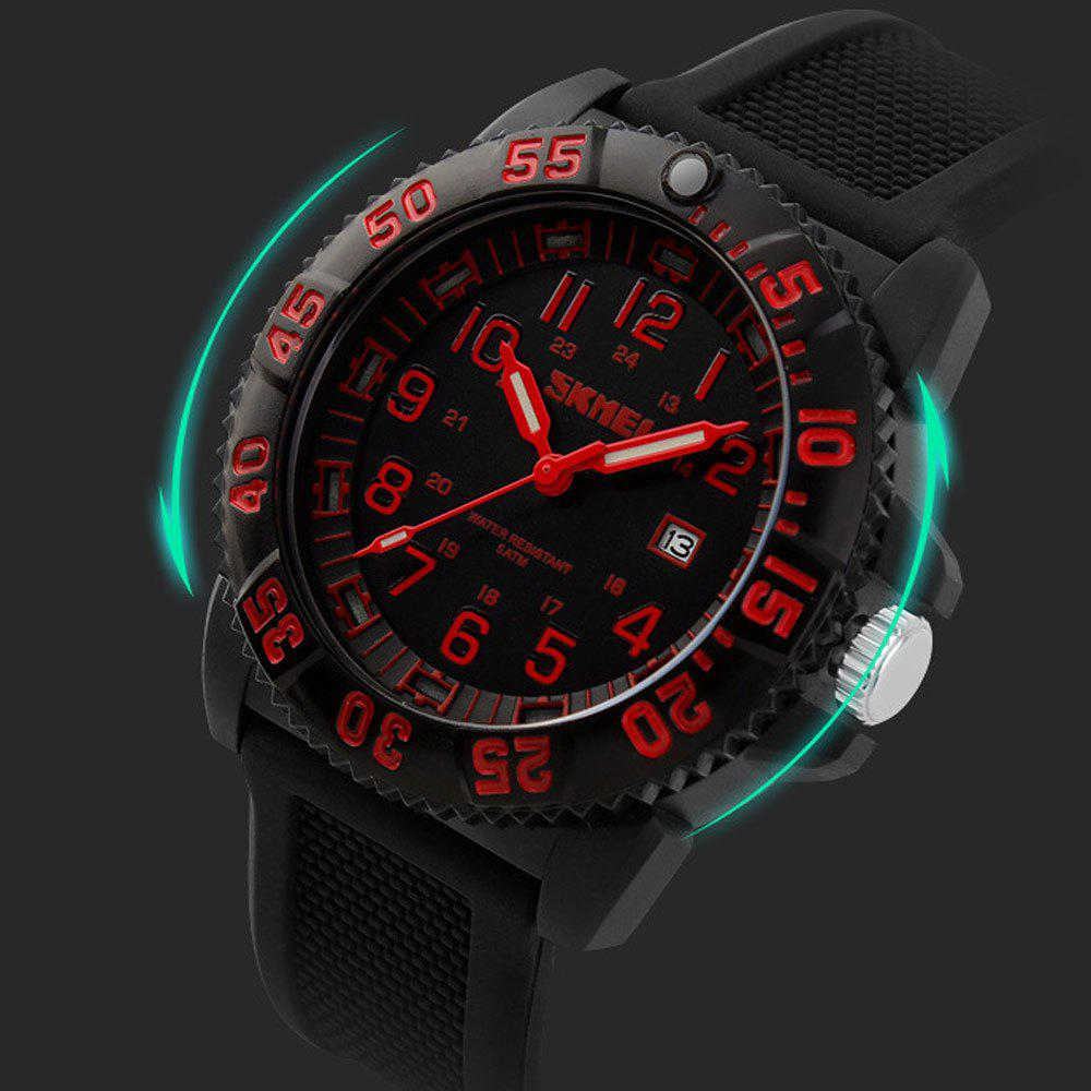 Skmei 1078 50m Water Resistant Men Quartz Watch with Date Display Silicone Band - RED