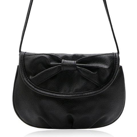 Sweet Candy Color and Bow Design Women's Crossbody Bag - BLACK