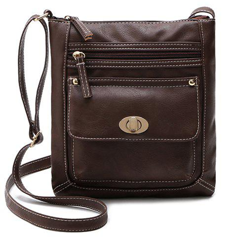 Fashionable Hasp and Solid Color Design Crossbody Bag For Women - COFFEE