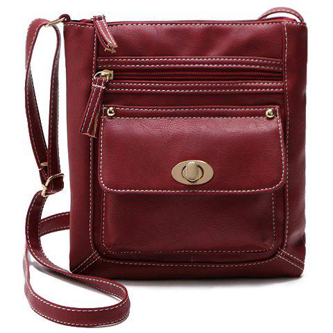 Fashionable Hasp and Solid Color Design Women's Crossbody Bag