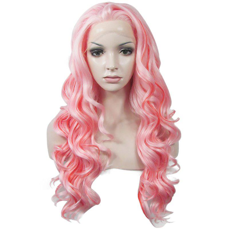 Stylish No Bang Heat Resistant Synthetic Mixed Color Long Shaggy Wavy Lace Front Wig For Women