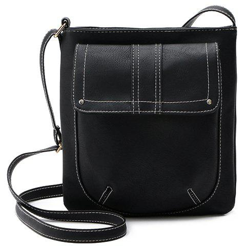 Stylish Stitching and Solid Color Design Women's Crossbody Bag - BLACK