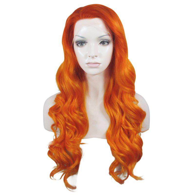 Towheaded Wavy Sparkling Gold Mixed Long No Bang Heat Resistant Fiber Lace Front Wig For Women