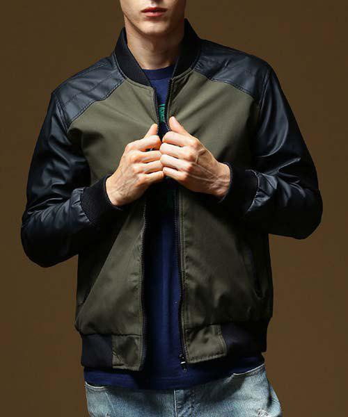 Modish Fitted Stand Collar Color Block PU Leather Splicing Long Sleeve Polyester Baseball Coat For Men