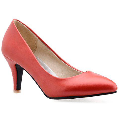 Office Lady Pointed Toe and Red Design Pumps For Women - RED 39