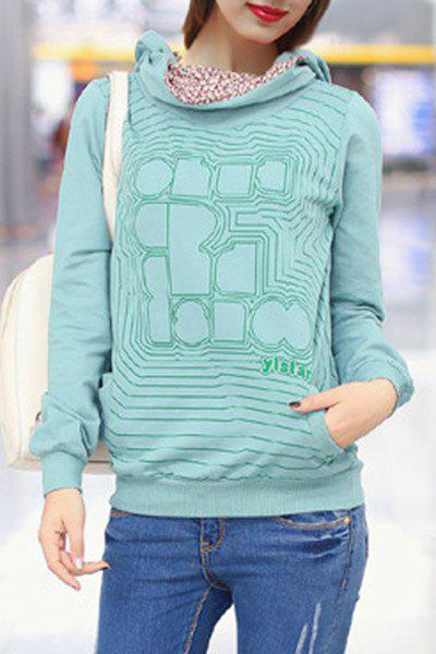 Sweet Hooded Long Sleeve Printed Women's Hoodie - GREEN ONE SIZE(FIT SIZE XS TO M)