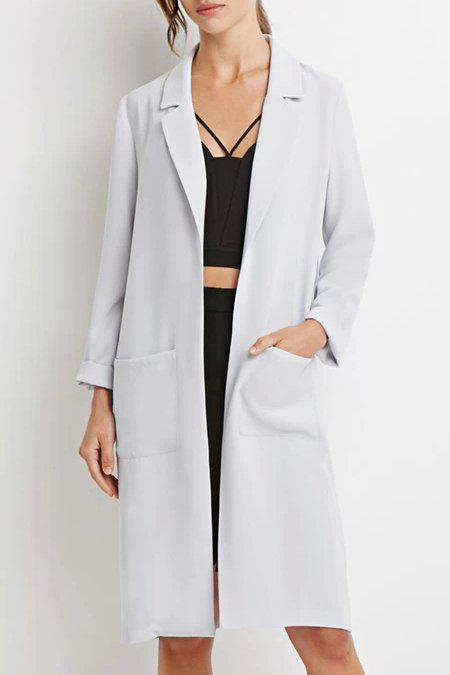Fashionable Lapel Pocket Solid Color Long Sleeve Trench Coat For Women - LIGHT GRAY S