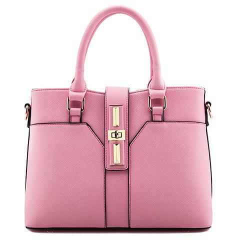 Office Lady Hasp and Solid Color Design Tote Bag For Women - PINK