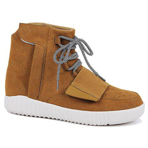 Trendy Lace-Up and Suede Design Round Toe Casual Shoes For Men - BROWN 39