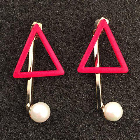 Pair of Delicate Faux Pearl Hollow Out Triangle Earrings For Women