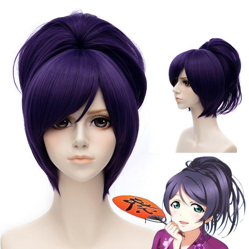 Fashion Purple Straight Inclined Bang Short Nozomi Tojo Costume Play Wig With Chignons - PURPLE