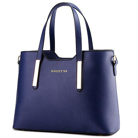 Fashionable Letters and Metal Design Tote Bag For Women - DEEP BLUE