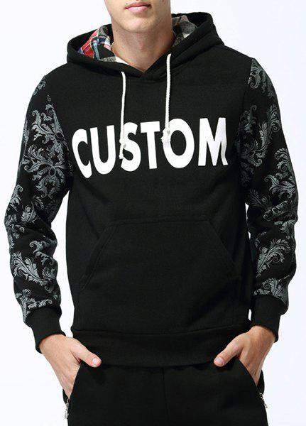 Modish Slimming Hooded Plants and Letters Print Long Sleeve Cotton Blend Hoodie For Men - BLACK XL