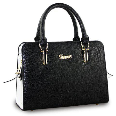 Fashionable Metal and Color Block Design Tote Bag For Women - BLACK