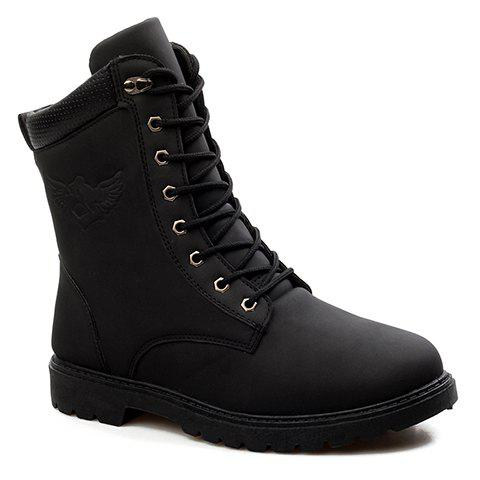 Stylish Color Block and Lace-Up Design Combat Boots For Men, BLACK ...