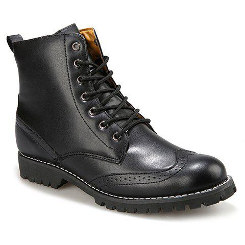 Stylish Engraving and Solid Color Design Boots For Men - BLACK 44