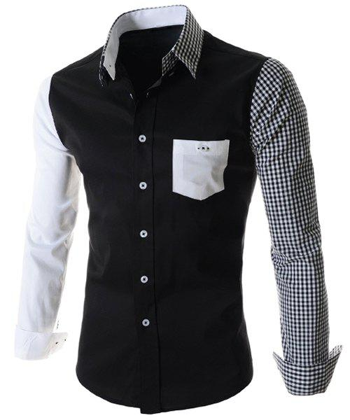 One Patch Pocket Color Block Plaid Asymmetric Spliced Shirt Collar Long Sleeves Men's Slimming Shirt - BLACK L