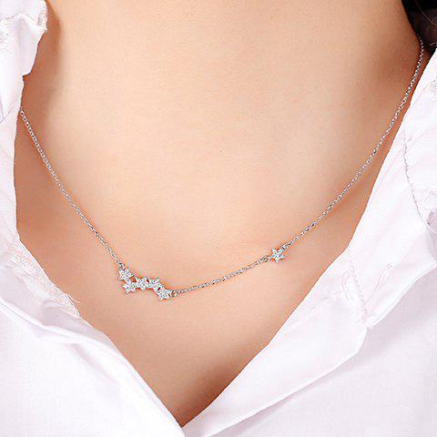 Rhinestone Star Pendant Necklace - SILVER