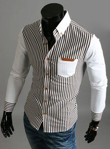 PU Leather Spliced One Patch Pocket Hit Color Slimming Turn-down Collar Long Sleeves Men's Striped Shirt