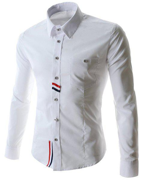 Special Back Colorized Stripes Spliced One Patch Pocket Shirt Collar Long Sleeves Men's Slim Fit Shirt - WHITE L