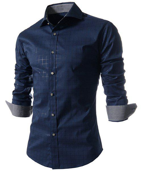 Refreshing Turn-down Collar Color Block Plaid Print Slimming Men's Long Sleeves Shirt - DEEP BLUE L