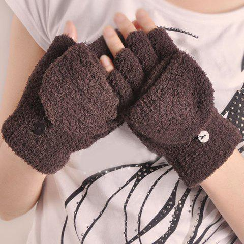 Pair of Chic Button Embellished Solid Color Women's Clamshell Gloves