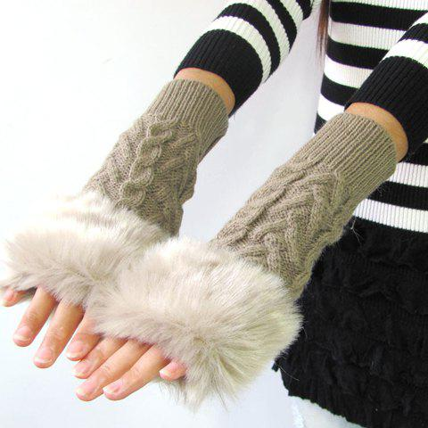 Pair of Chic Hemp Flower Faux Fur Splice Knitted Women's Short Fingerless Gloves - KHAKI
