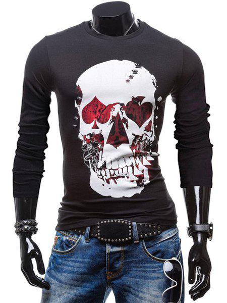 Fashionable Round Neck Personality Skulls Print Color Block Long Sleeves Men's Slim Fit T-Shirt - BLACK XL