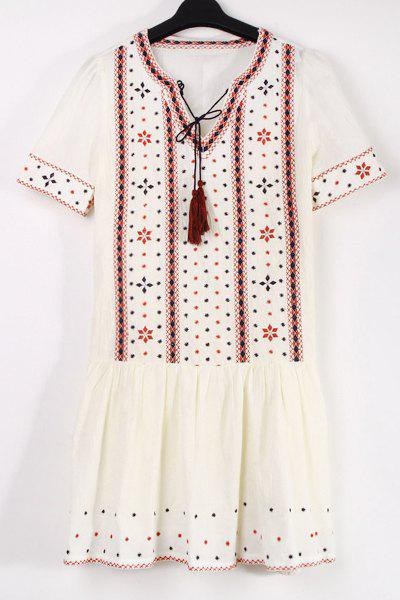 Stylish V Neck Short Sleeve Ethnic Embroidery Women's Dress - WHITE L