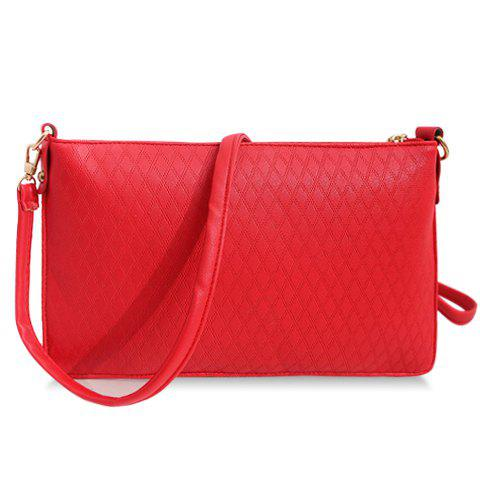 Trendy Solid Colour and Checked Design Crossbody Bag For Women - RED