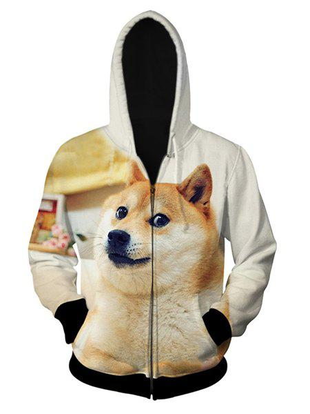 Fitted Fashion Hooded 3D Cute Dog Pattern Long Sleeve Men's Cotton Blend Hoodie - OFF WHITE L