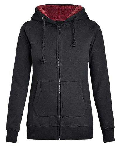 Casual Long Sleeves Black Hoodie For Women