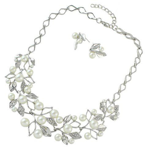 Fake Pearl Leaf Necklace and Earrings - SILVER